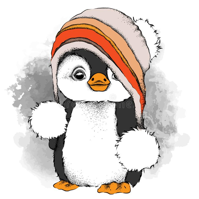 Un pingüino de la historieta en un sombrero El carácter para el ` s de la Navidad y del Año Nuevo diseña Ilustración del vector ilustración del vector