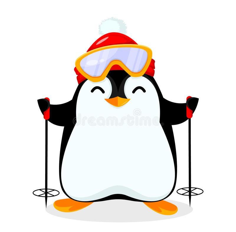 Un pingüino muy lindo va a esquiar libre illustration