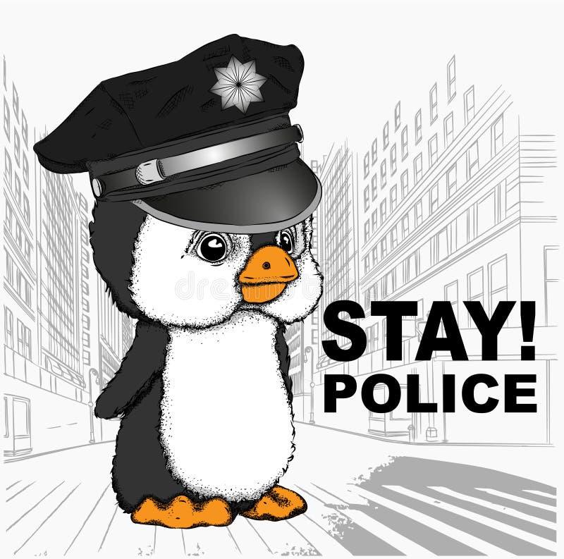 Un pingouin dans un chapeau de police Pingouin sur le fond de la métropole Illustration de vecteur photos stock