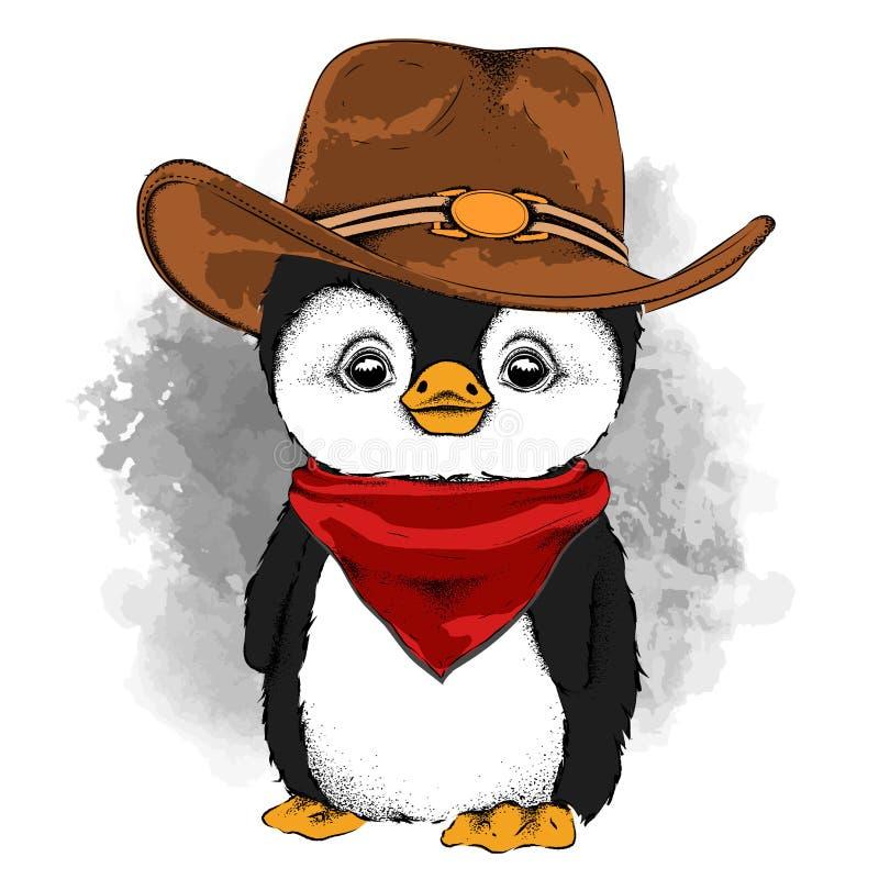 Un pinguino in un cappello da cowboy Illustrazione di vettore illustrazione vettoriale