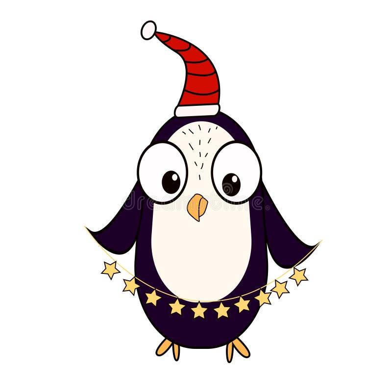 Un pinguino del fumetto nel cappuccio dell'assistente del ` s di Santa Il carattere per il ` s del nuovo anno e di Natale progett royalty illustrazione gratis