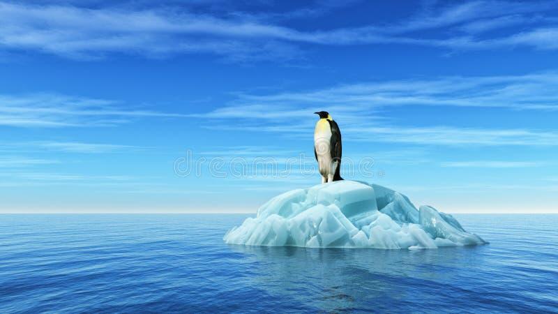 Un pinguino si siede su un iceberg royalty illustrazione gratis