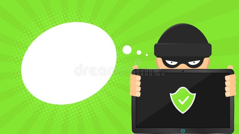 Un pirate informatique tient un ordinateur sûr dans des ses mains Comprimé de pointe électronique Bannière sous forme de nuage Le illustration de vecteur