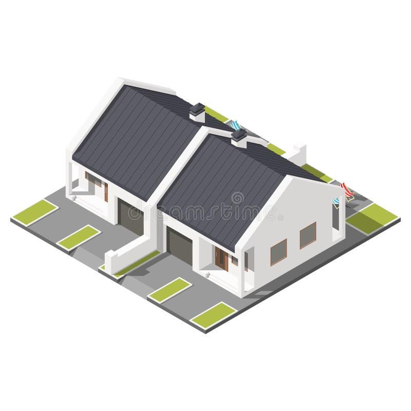 Un piso conectó la cabaña con el tejado inclinado para el sistema isométrico del icono de dos familias stock de ilustración