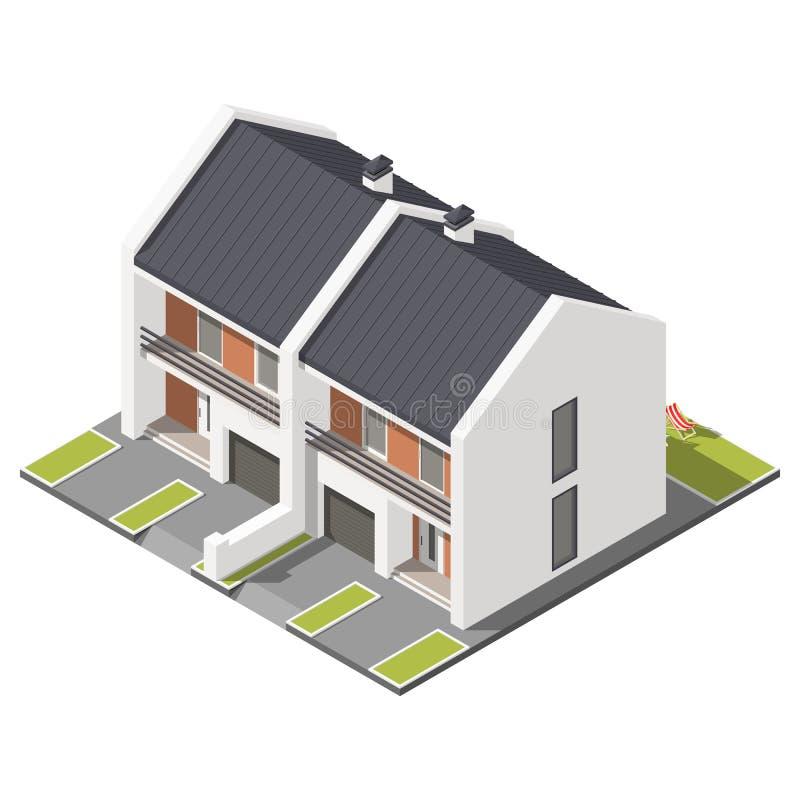 Un piso conectó la cabaña con el tejado inclinado para el sistema isométrico del icono de dos familias ilustración del vector
