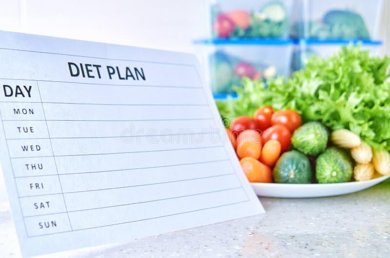Un plan de la comida para una semana en una tabla blanca entre el sistema de los envases de plástico para la comida y la comida N foto de archivo libre de regalías
