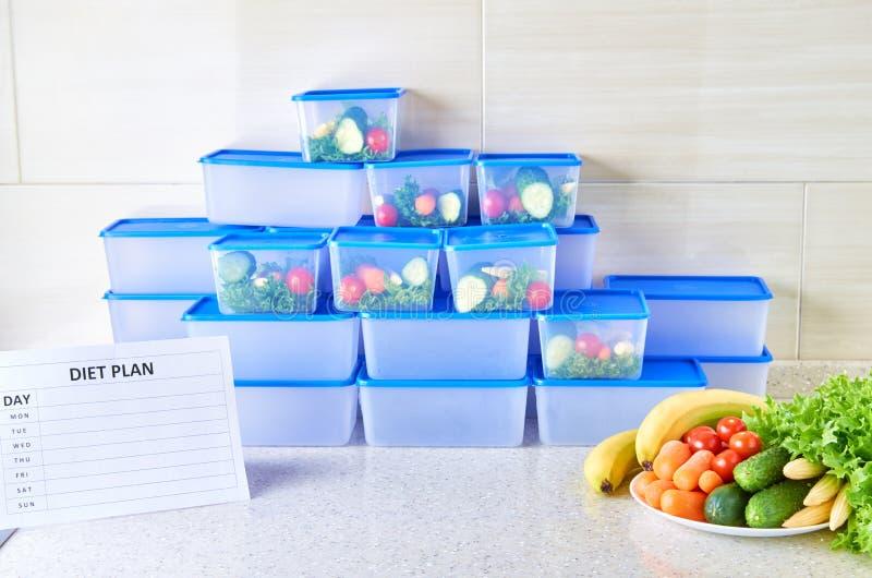 Un plan de la comida para una semana en una tabla blanca entre el sistema de los envases de plástico para la comida y la comida N fotografía de archivo