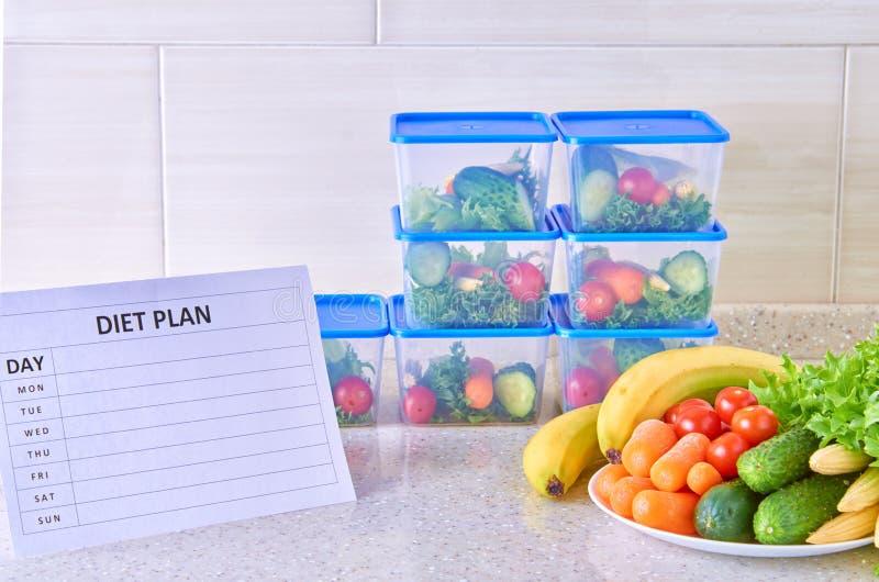 Un plan de la comida para una semana en una tabla blanca entre el sistema de los envases de plástico para la comida y la comida N imagen de archivo