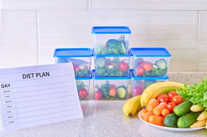 Un plan de la comida para una semana en una tabla blanca entre el sistema de los envases de plástico para la comida y la comida N imágenes de archivo libres de regalías