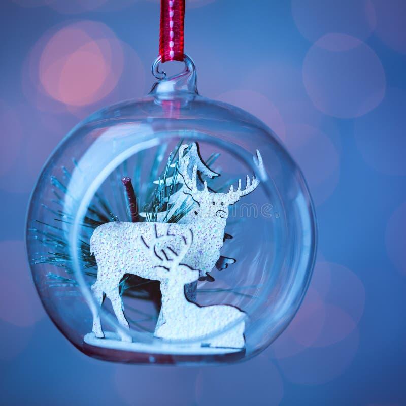 Un plan rapproché ouvré en verre clair de babiole de Noël photos libres de droits