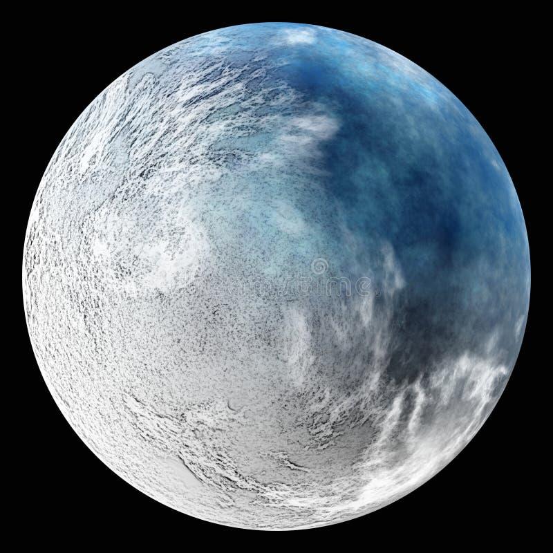 Un planeta de la tierra después de la catástrofe de la ecología invierno nuclear imagenes de archivo
