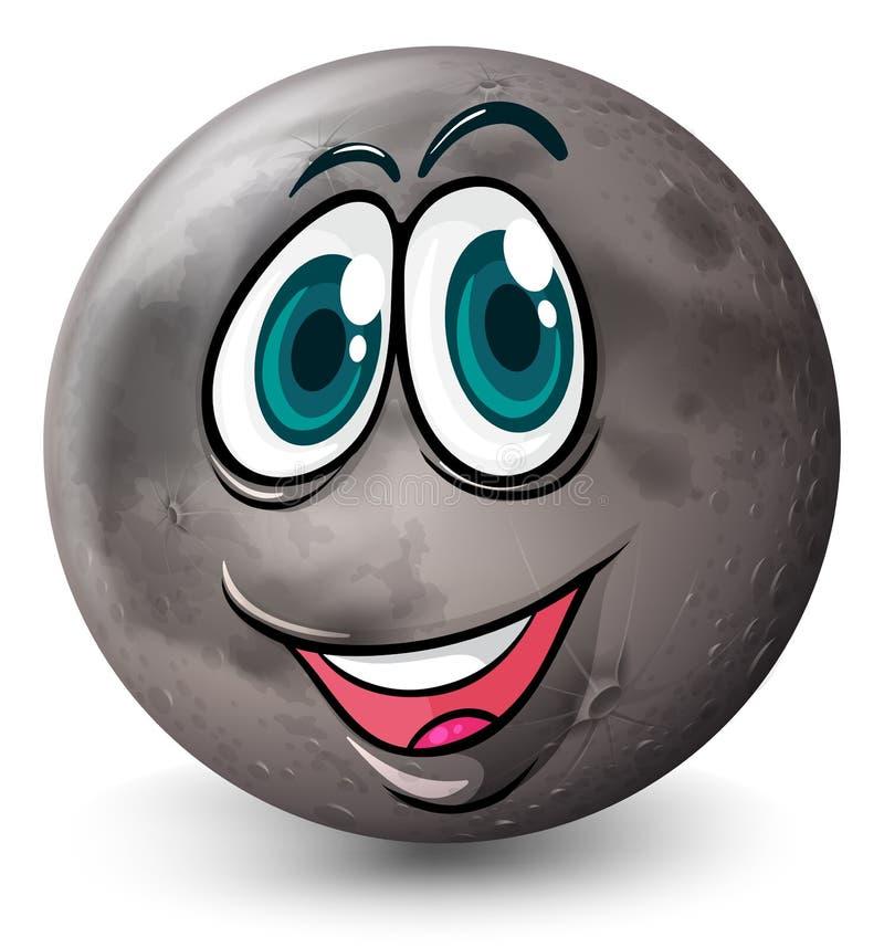 Un planeta gris con una cara ilustración del vector