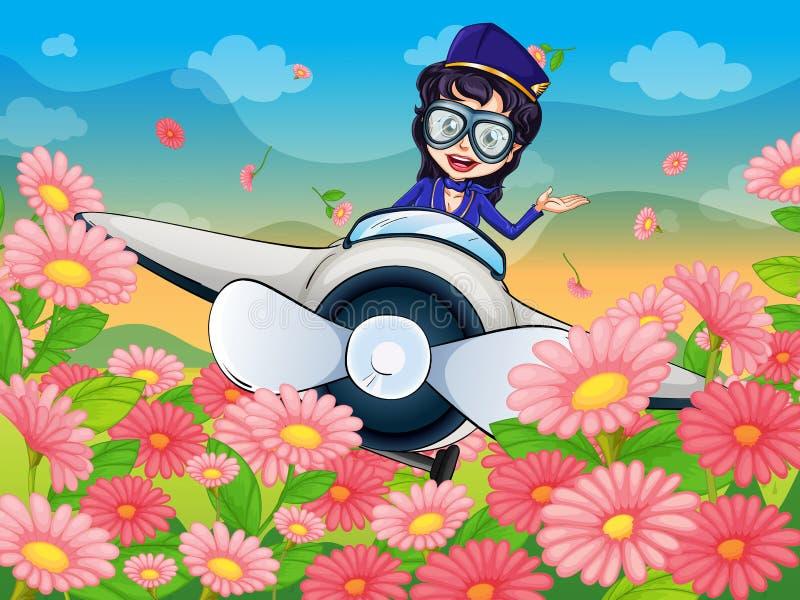 Un plano del vuelo de la muchacha ilustración del vector