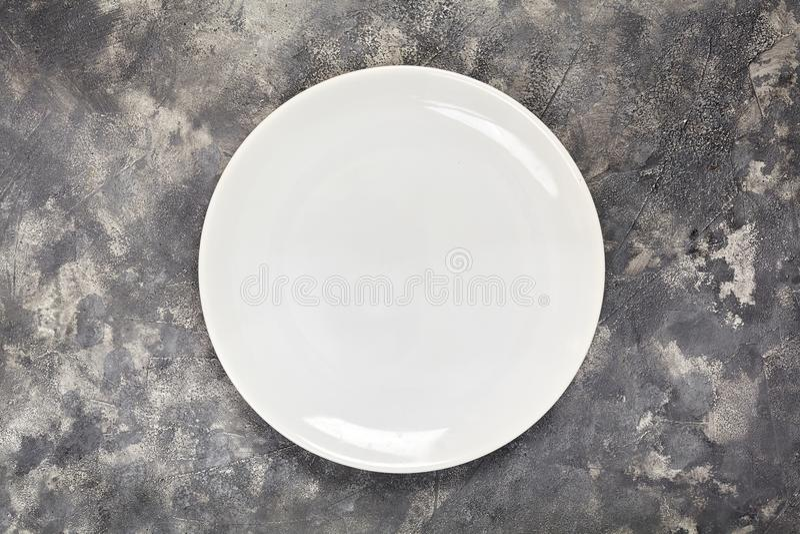 Un plat blanc Un objet propre Pour la nourriture Vue de ci-avant Pour votre conception Texture image libre de droits