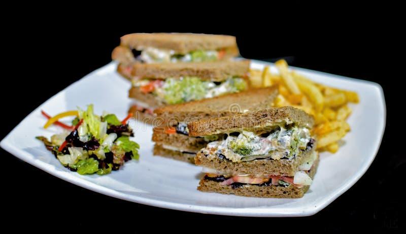 Un plat des sandwichs ? club v?g?taux semblants succulents et d?licieux pr?ts ? ?tre mang?, a servi avec une salade et une main f image libre de droits
