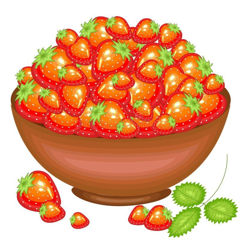 Un plein bol de récolte abondante de belles baies juteuses de fraise Baies rouges douces, une source des vitamines et plaisir Vec illustration de vecteur