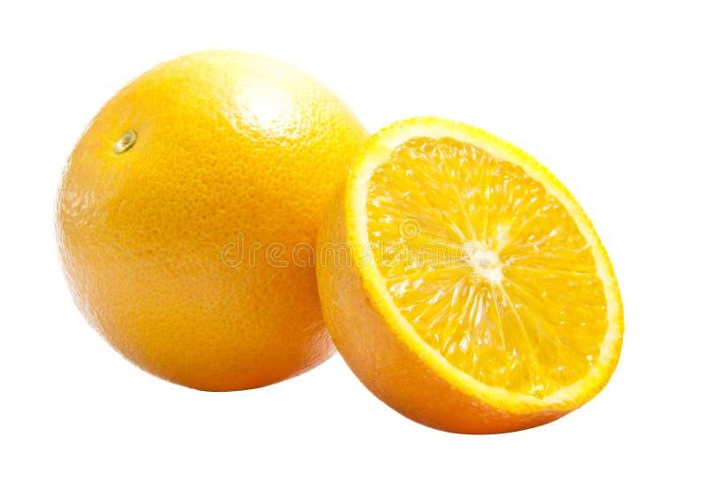 Un plein et à moitié une orange photo stock