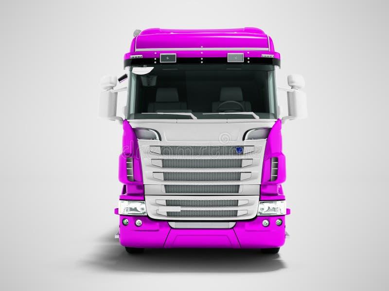 Un plus grand camion violet pour le transport des marchandises pour la vue de face 3d de longues distances rendre sur le fond gri illustration libre de droits