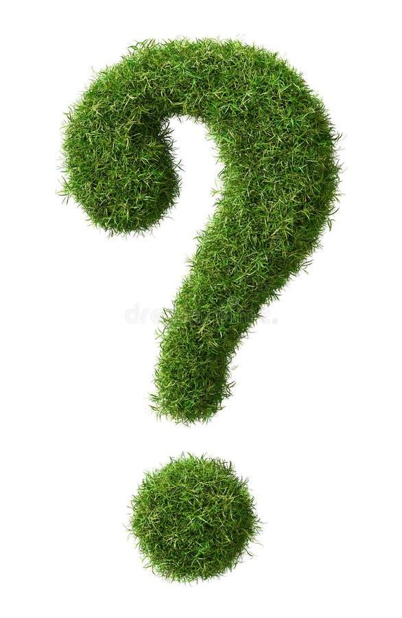 Un point d'interrogation d'herbe d'isolement sur un fond blanc - concept d'environnement du rendu 3D illustration de vecteur