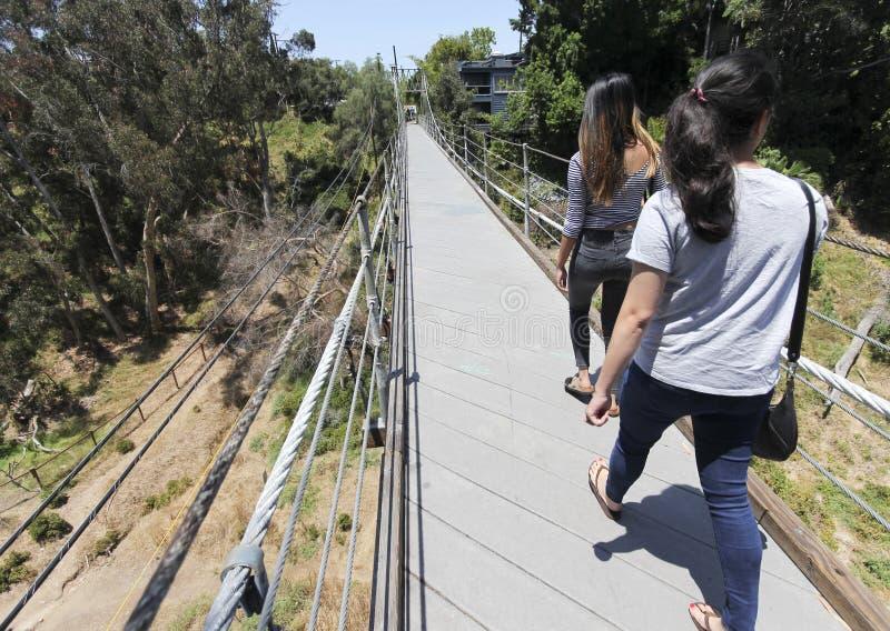 Un point de repère local, pont suspendu impeccable de rue, à San Diego image libre de droits