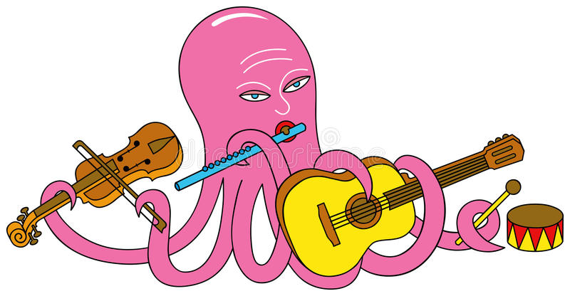 Un polipo sta giocando gli strumenti musicali. illustrazione vettoriale