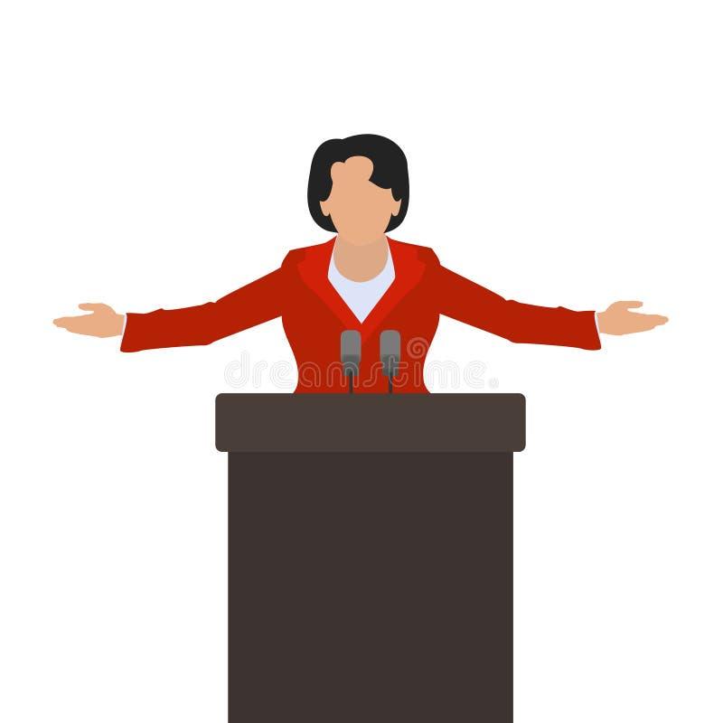 Un politico della donna un altoparlante della donna sul vettore del podio illustrazione vettoriale