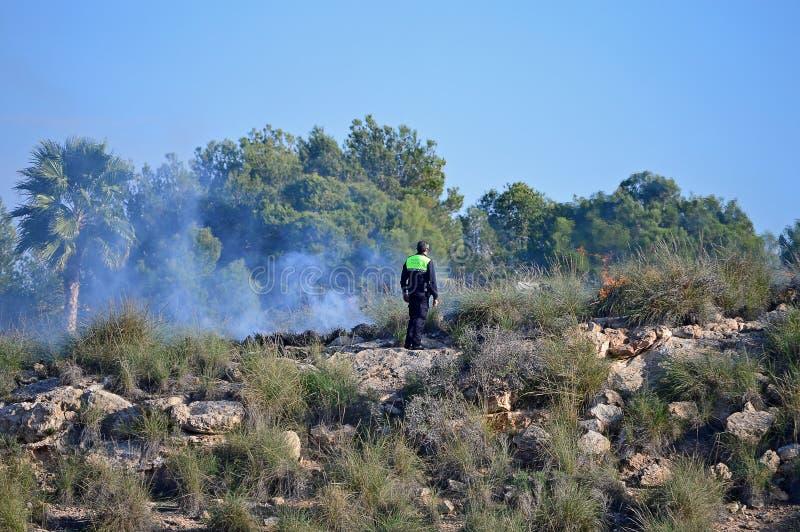 Un poliziotto che esamina Forest Fire On una collina spagnola fotografia stock