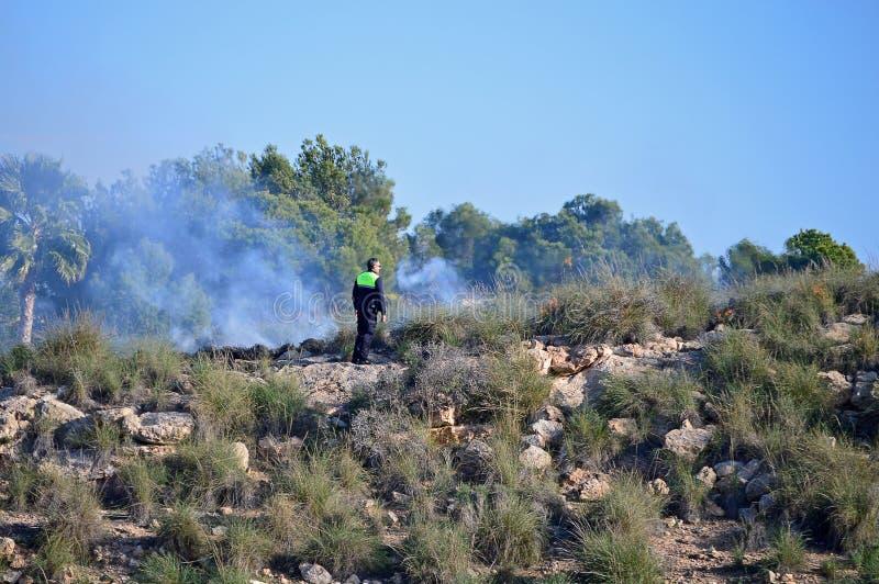 Un poliziotto che si occupa di un fuoco di area a vegetazione arbustiva fotografia stock libera da diritti