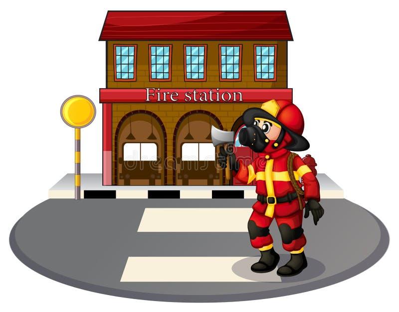 Un pompier devant la caserne de pompiers illustration libre de droits