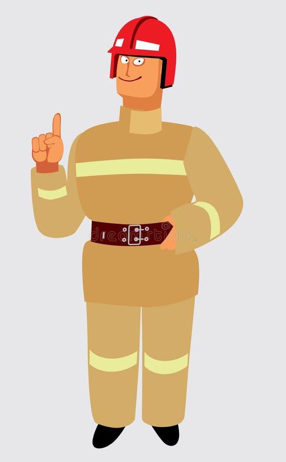 Un pompier gai dans un casque et un uniforme léger explique illustration de vecteur