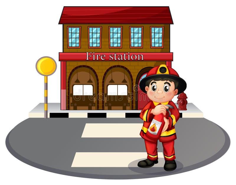 Un pompier tenant un extincteur devant le stati du feu illustration stock
