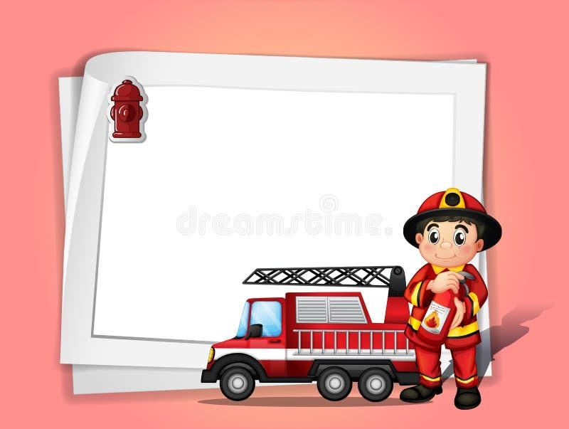 Un pompier tenant un extincteur près de son camion de pompiers dans f illustration stock
