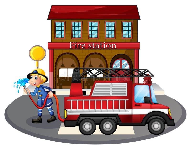 Un pompier tenant un tuyau de l'eau près d'un camion de pompiers illustration stock