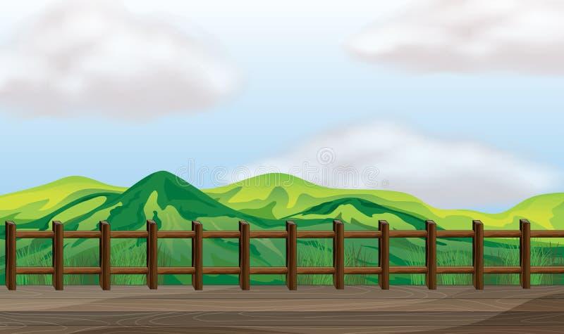 Un pont donnant sur la montagne illustration stock