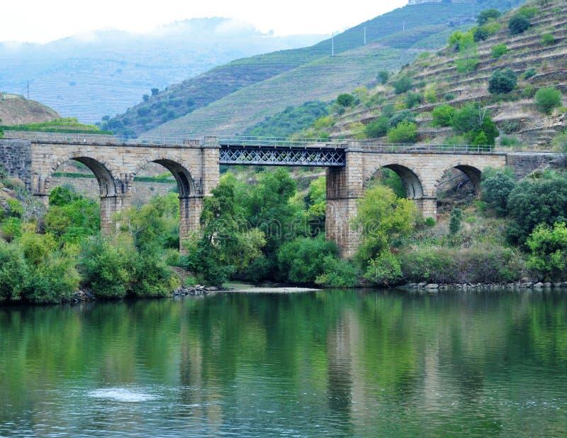 Un pont en train à la berge de Douro photo libre de droits