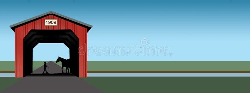 Un ponte coperto rosso luminoso è visto in un'illustrazione che ha le linee semplici pulite e colori luminosi royalty illustrazione gratis