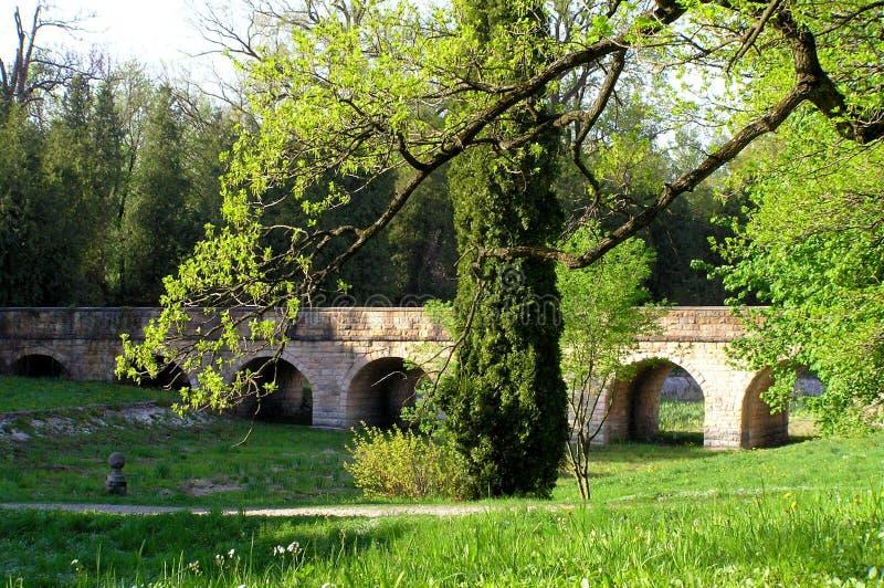 Un ponte dai medio evo nel parco fotografie stock libere da diritti