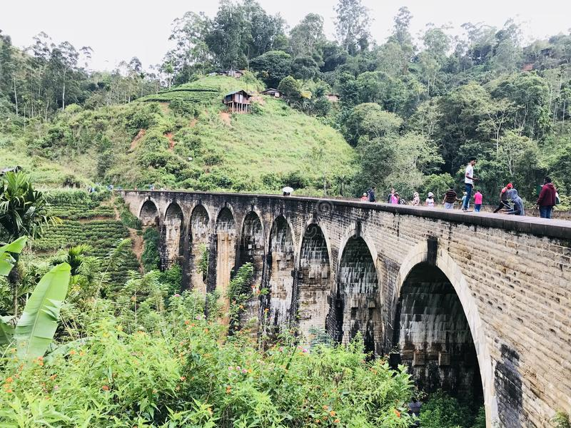 Un ponte di nove archi in demodara fotografia stock libera da diritti