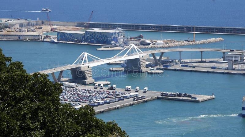 Un ponte nel porto di Barcellona immagine stock libera da diritti