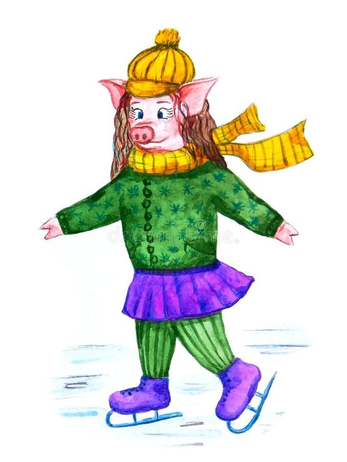 Un porc mignon dans une écharpe jaune confortable et des patins de chapeau illustration libre de droits