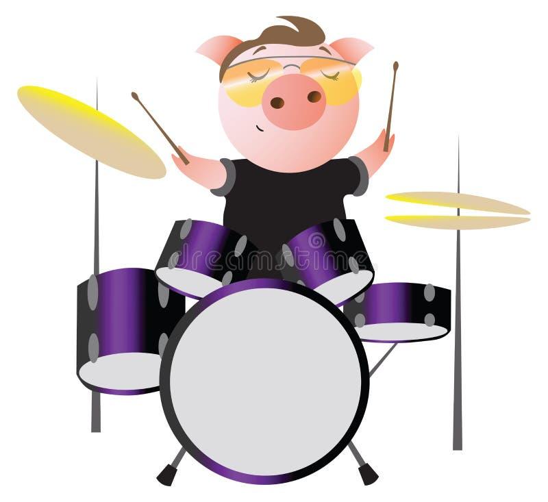 Un porcin drôle avec des lunettes de soleil joue des tambours illustration libre de droits