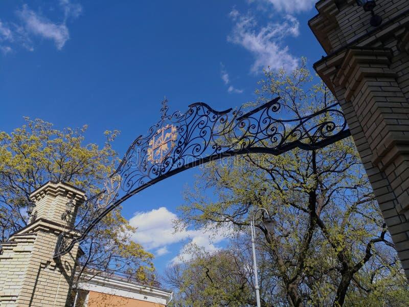 Un portone con un arco in ferro battuto openwork sui precedenti di un cielo blu e di un albero verde fotografie stock libere da diritti