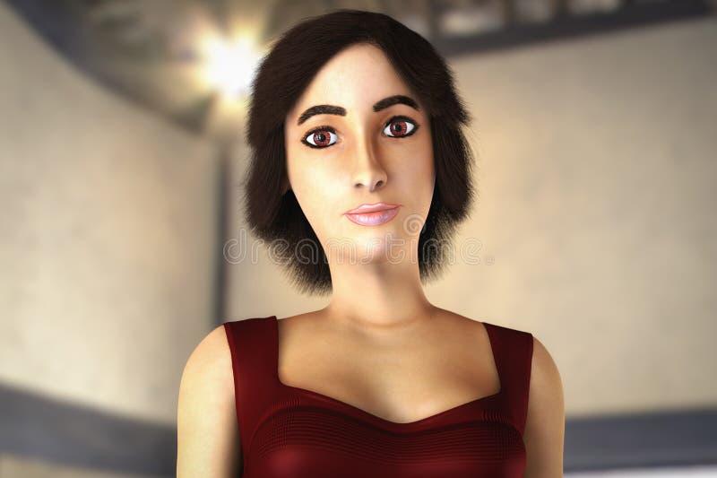 Un portrait d'un beau rendu de la femme 3d illustration de vecteur