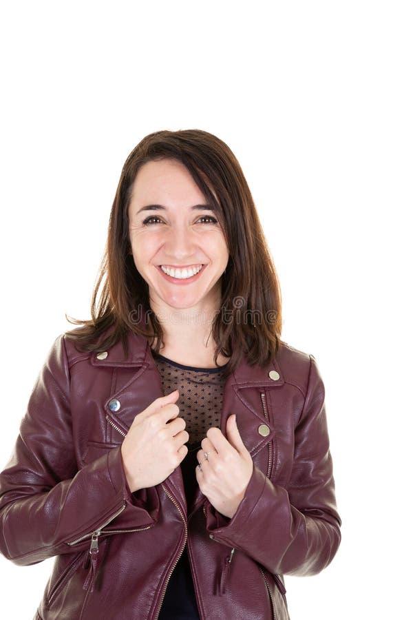 Un portrait de femme d'affaires sûre avec des vêtements de veste en cuir photos libres de droits
