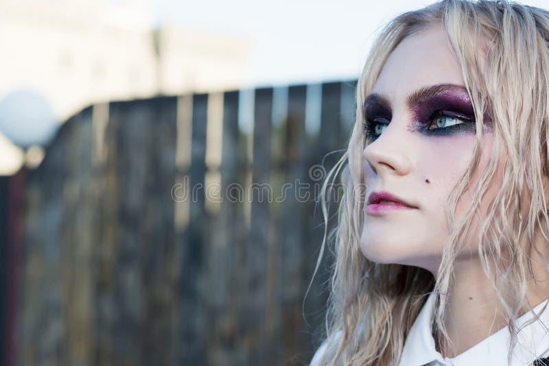 Download Un Portrait Gothique De Style De Mode D'une Belle Fille Blonde Image stock - Image du regard, dame: 77151083