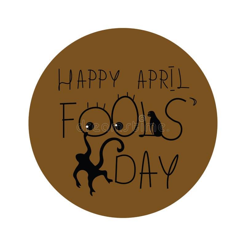 Un portrait représenté avec les mots HAPPY AVRIL FOOLS DAY vectoriel ou illustration couleur illustration libre de droits