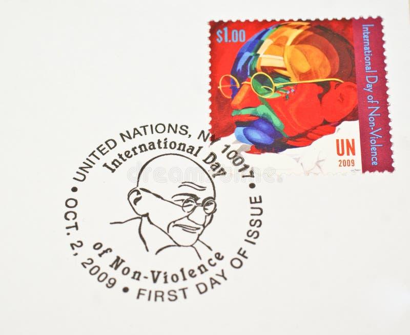 UN Postage stamp dedicating Mahatma Gandhi stock images