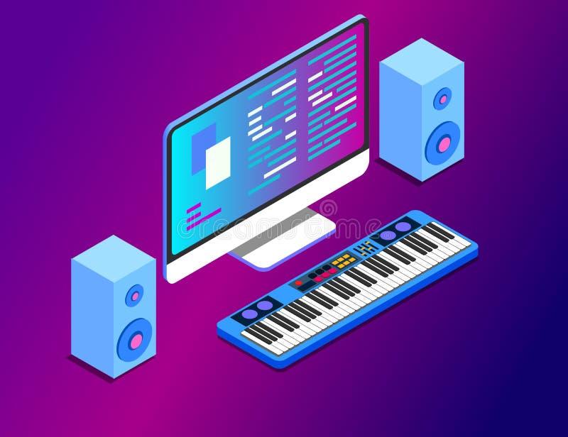 Un poste de travail de composition musicale avec un moniteur de grand écran et un clavier musical Illustration plate ENV de vecte illustration de vecteur