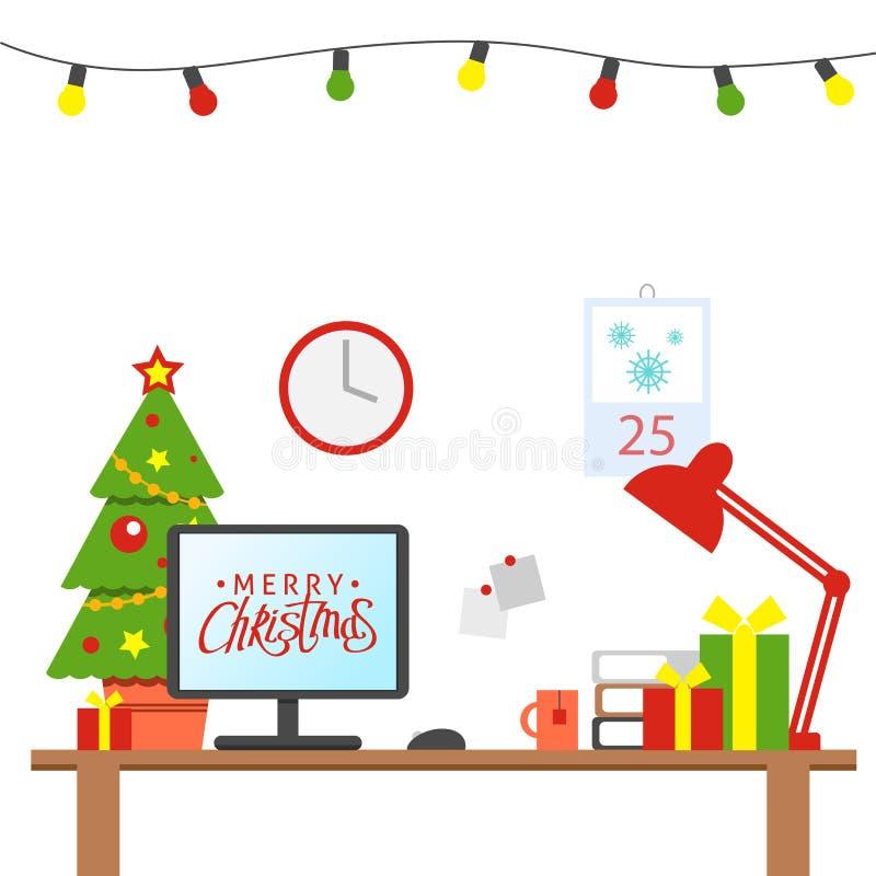 Un posto di lavoro dell'ufficio decorato Natale Tabella con il computer, regali, albero di Natale Area lavoro dell'ufficio f royalty illustrazione gratis