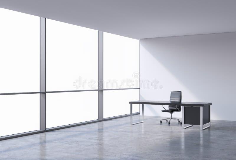 Un posto di lavoro in un ufficio panoramico d'angolo moderno, spazio della copia sulle finestre Una sedia di cuoio nera e una tav illustrazione vettoriale